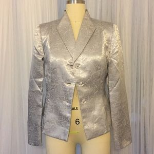 Le Suit Sliver Metallic Blazer w/ Clear Buttons 6